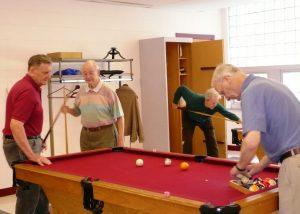 Members playing pool