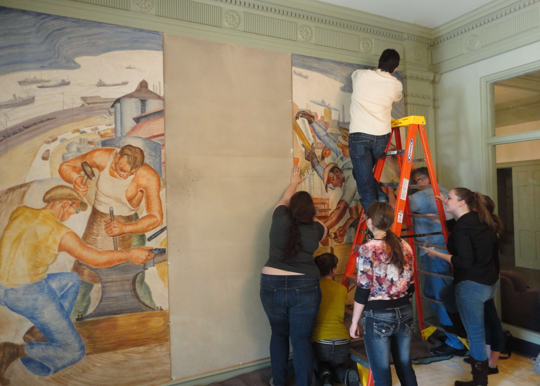 Replacing the Restored Murals - 2013
